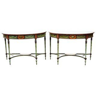 Adams Style Faux Painted Marble Demilune Console - A Pair