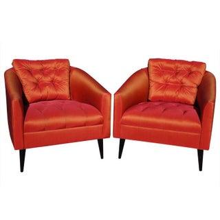 Mid-Century Modern Satin Chairs - A Pair