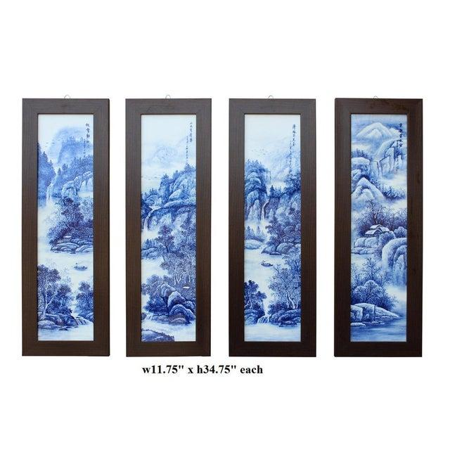 Chinese Blue & White Porcelain Wall Panels - Set of 4 - Image 6 of 6