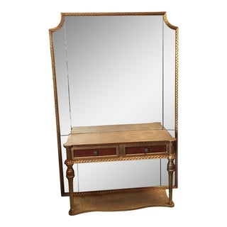 Neoclassical Gilt Console With Floor Mirror