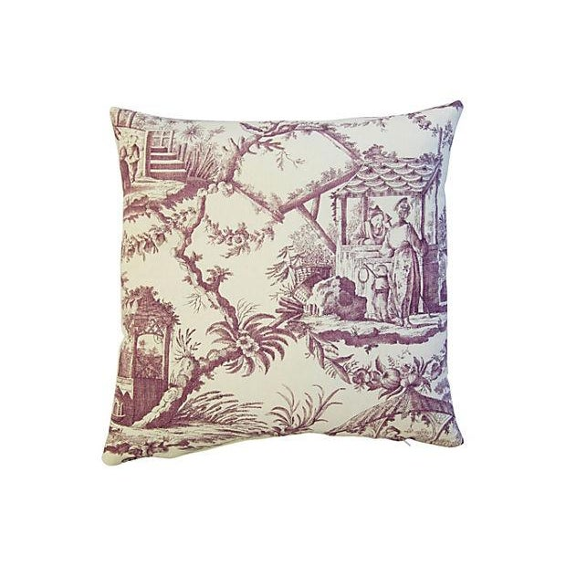 Custom Lavender English Chinoiserie Accent Pillow - Image 3 of 3