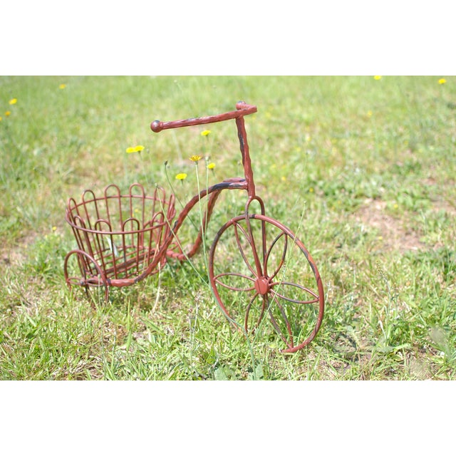 Image of Metal Antique Garden Tricycle Flower/ Plant Stand