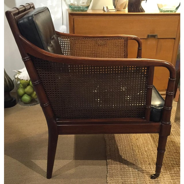 Mid Century Leather Faux Bamboo Chair & Ottoman - Image 4 of 10