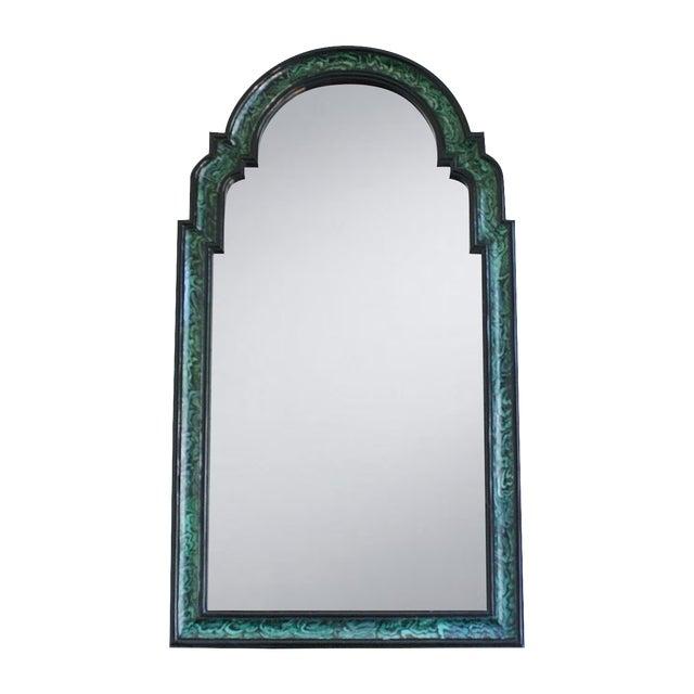 Faux Malachite Lacquered Mirror - Image 1 of 4
