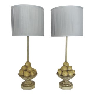 Vintage Lemon Compote Lamps - A Pair