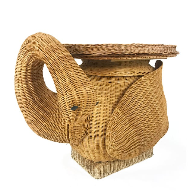 Vintage Woven Wicker Rattan Swan Goose Side Table Plant Stand - Image 4 of 6