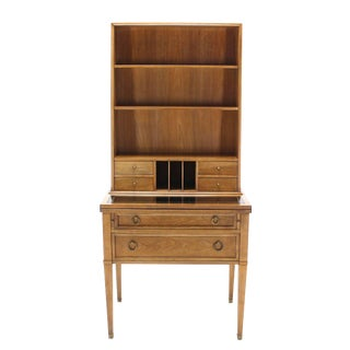 Baker Modern Petite Secretary with Bookcase on Slim Legs