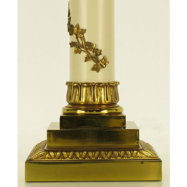 Pair Stiffel Neoclassical Brass & Ivory lacquered Table Lamps. - Image 7 of 10