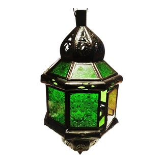Moroccan Metal & Glass Pendant Lantern