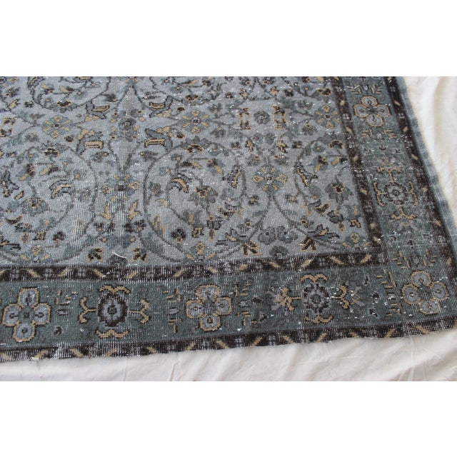 "Vintage Gray Turkish Over-Dyed Rug - 6' x 9'3"" - Image 9 of 10"