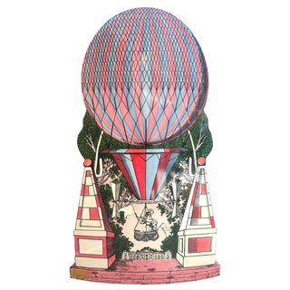 Mid-Century Hollywood Regency Style, Fornasetti Umbrella Stand, Hot Air Balloon Motif