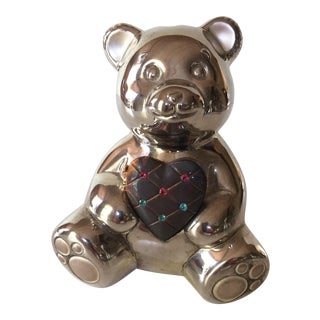 Vintage Lenox Silver Plated Bear Piggy Bank