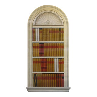"""Vintage French """"Trompe l'Oeil of a Library Book Case #2"""" Oil Painting on Canvas"""