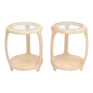 Pair of American Modern Shagreen and Glass Side Tables by Maitland-Smith