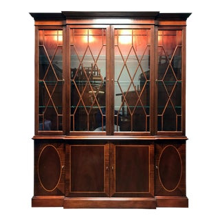 BAKER Historic Charleston Inlaid Mahogany Breakfront China Cabinet