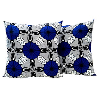 Blue African Fabric Pillow Covers - A Pair