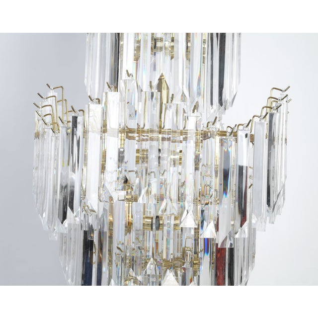 Image of 7-Tier Brass & Lucite Chandelier