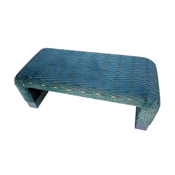 Image of Steve Chase Style Upholstered Waterfall Bench