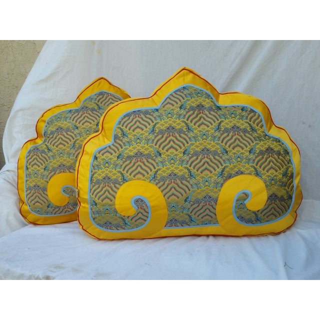 Chinese Silk Bed Pillows - Pair - Image 2 of 5
