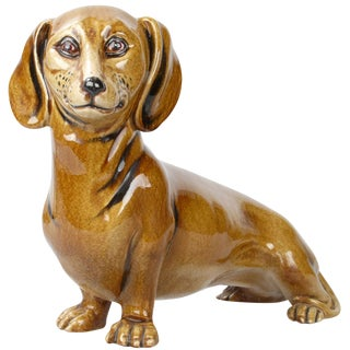 Italian Brown Glazed Ceramic Dog