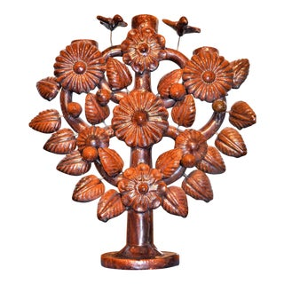 Vintage Glazed Mexican Tree of Life Candelabra