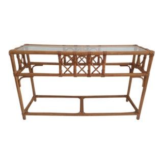 Vintage Rattan Console With Glass Inset Top