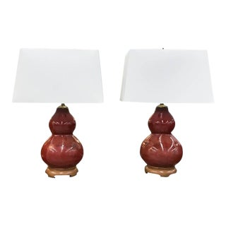 Mid-Century Pottery Gourd Lamps - A Pair