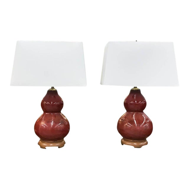 Mid-Century Pottery Gourd Lamps - A Pair - Image 1 of 8