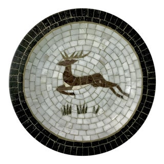 Mid-Century Danish Mosaic Plate With Leaping Reindeer Deer or Stag by Signed Heide of Denmark