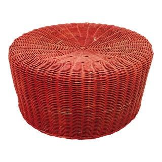 Vintage Red Wicker Ottoman