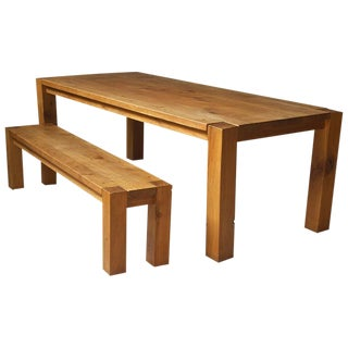 Robust Custom Oak Dining Table and Bench