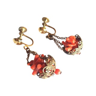 Antique Art Nouveau Coral Hanging Basket Earrings