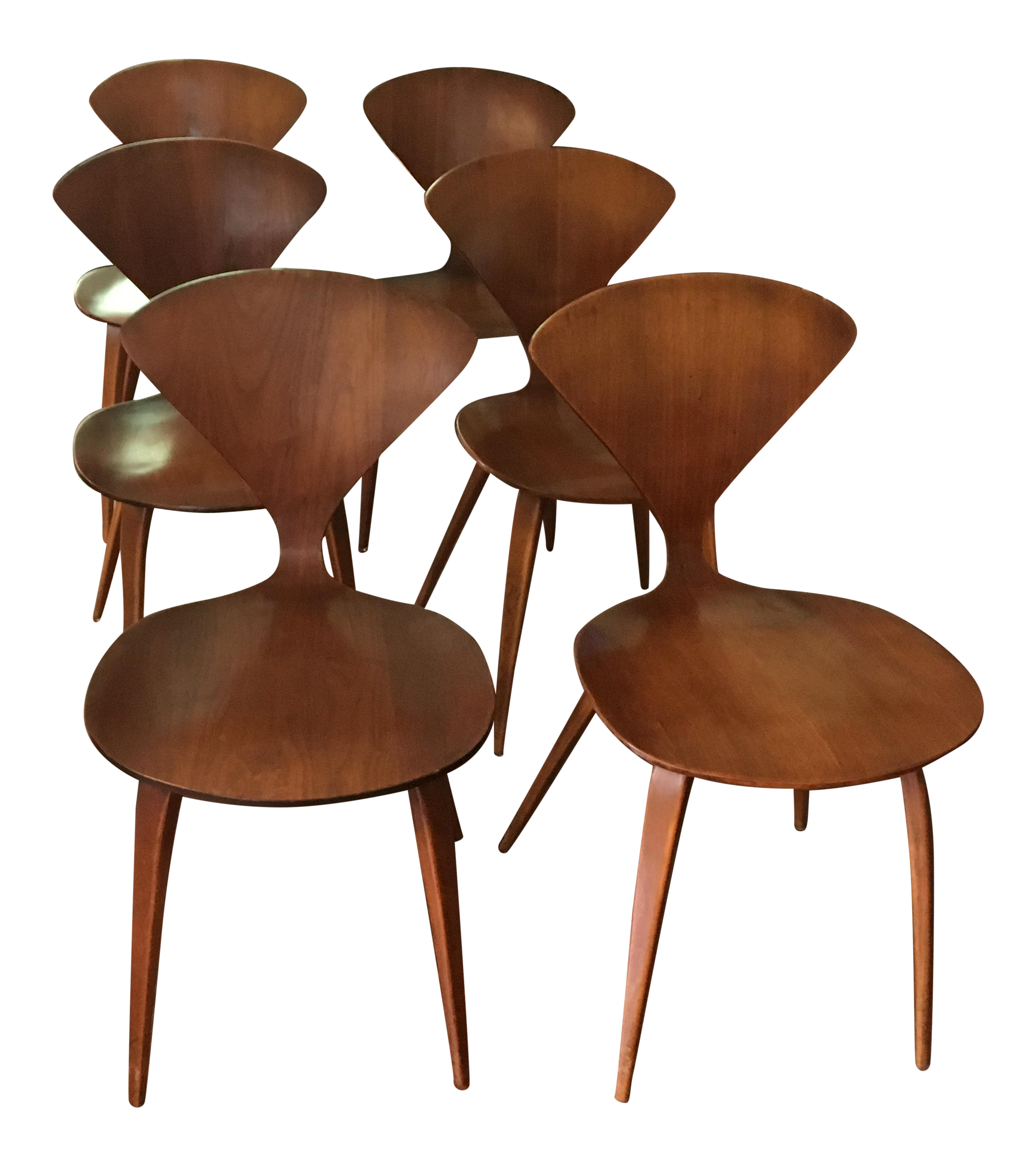 molded plywood chairs cherner modern red. midcentury modern norman cherner for plycraft chairs set of 6 molded plywood red