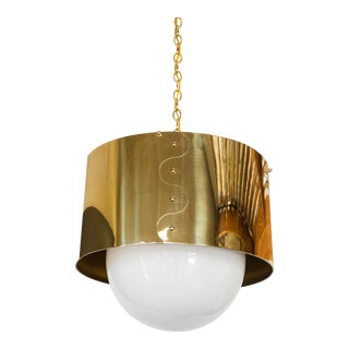 Mid-Century Brass Drum Shaded Pendant or Chandelier