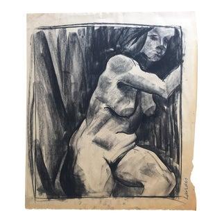 David Landis Charcoal Female Nude Drawing C. 1950