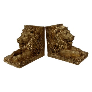 Gold Painted Resin Lions Bookends - Pair