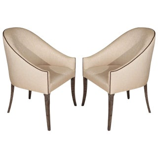 Modern Spoon-Back Style Pair of Occasional - Club Chairs