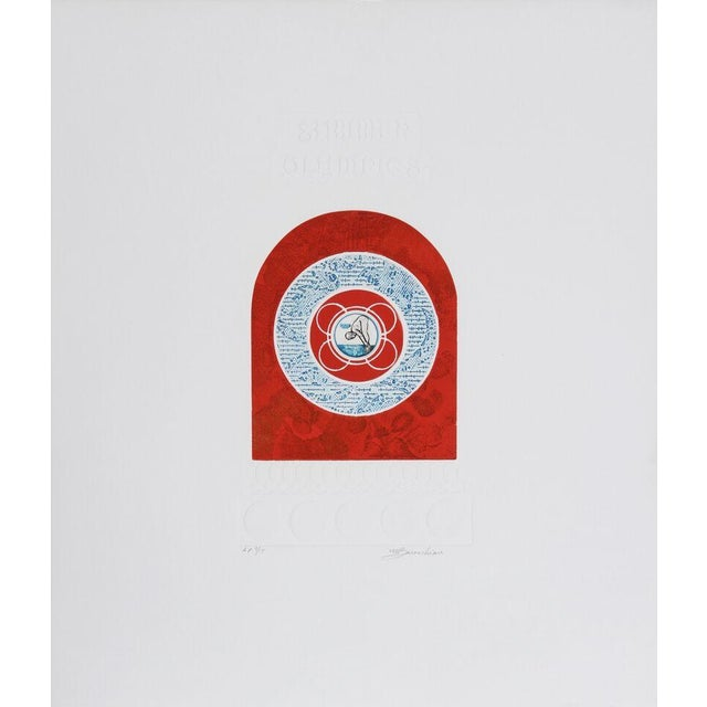 "M. Barooshian, ""Summer Olympics,"" Intaglio Etching - Image 1 of 2"