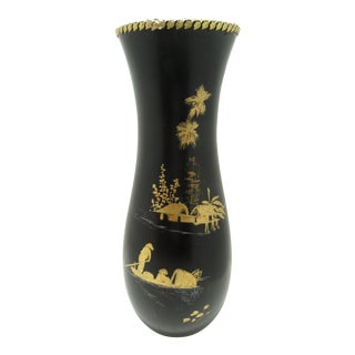 Vintage Asian Black Lacquered Wood Vase Gold Gilt Chinoiserie