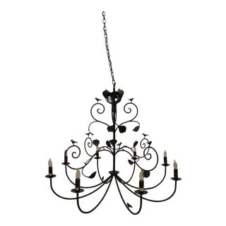 Iron Chandelier With Birds and Leaves