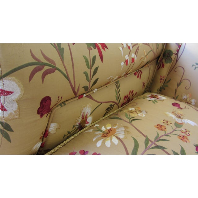 Silk Embroidered March Rocker Swivel Glider Chairs - a Pair - Image 6 of 6