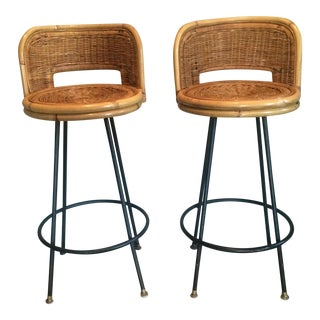 Vintage Seng of Chicago Wicker & Iron Stools - A Pair