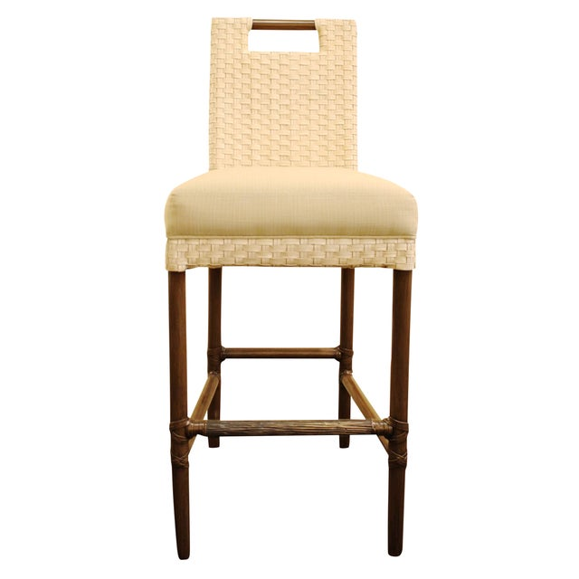 McGuire Thomas Pheasant Woven Leather Bar Stool - Image 1 of 7