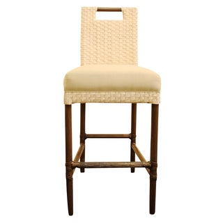 McGuire Thomas Pheasant Woven Leather Bar Stool