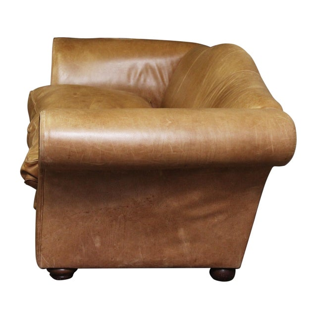 Large Vintage French Camelback Leather Couch - Image 2 of 9