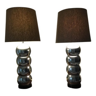 Stacked Ball Chrome Lamps In the Style of George Kovacs - A Pair