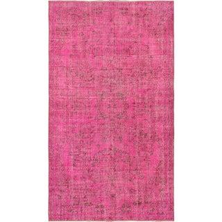"Hot Pink Vintage Turkish Overdyed Rug - 5'5"" X 9'6"
