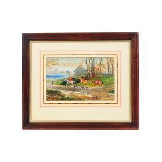 19th Century English Fox Hunt Oil Painting