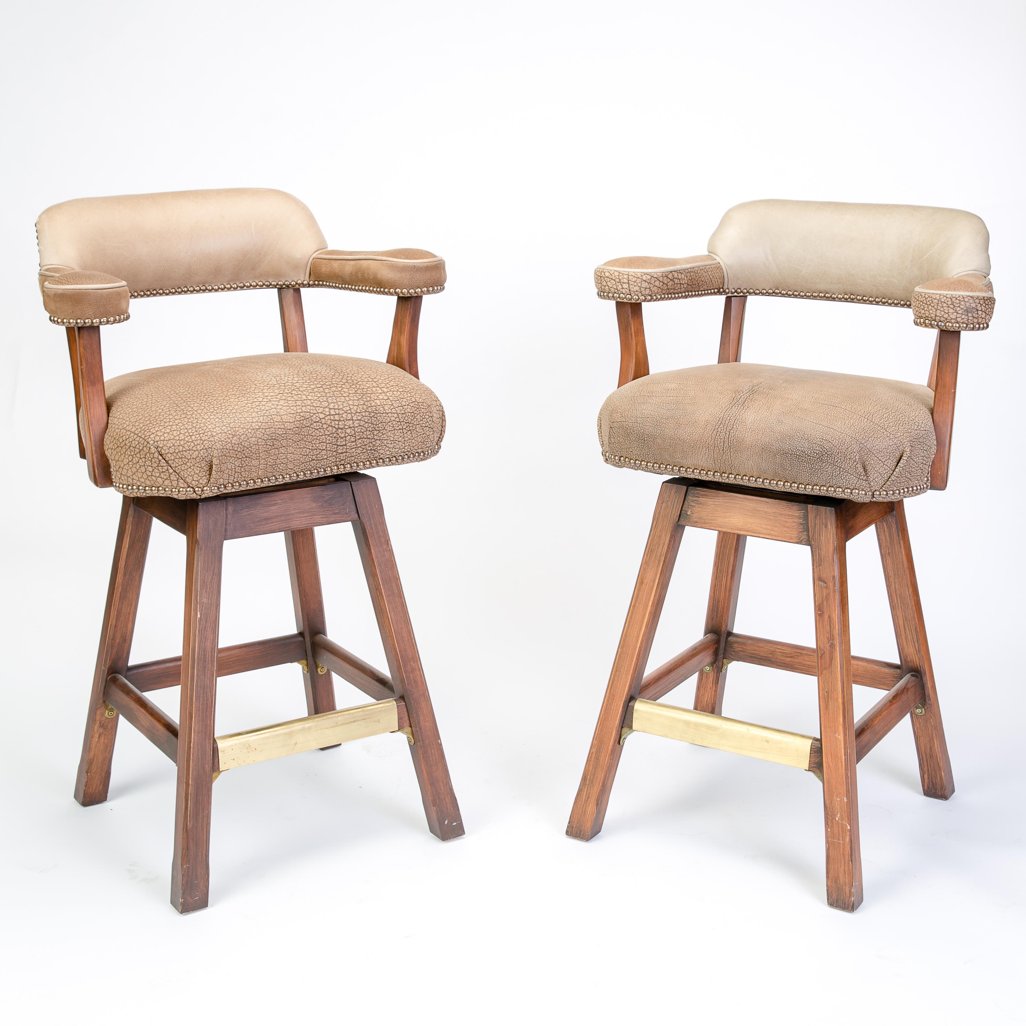 Textured Barrel Back Bar Stools A Pair Chairish