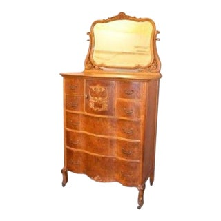 Antique Birds Eye Maple Gentleman's Chest With Mirror